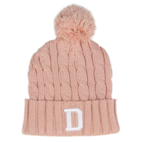 Dusty Rose Knit D Beanie
