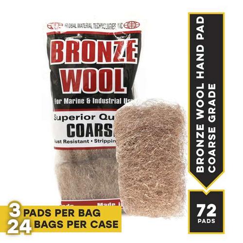 Coarse Bronze Hand Pads, 3 pads per bag, 24 bags per case