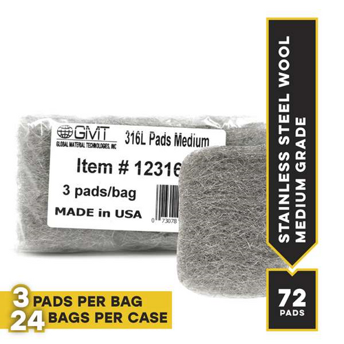 Medium #316L Stainless Steel Wool Hand Pads, 72 pads/case
