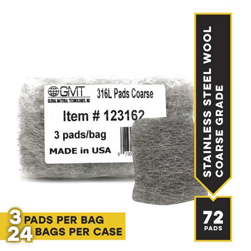 Coarse #316L Stainless Steel Wool Hand Pads, 72 pads/case