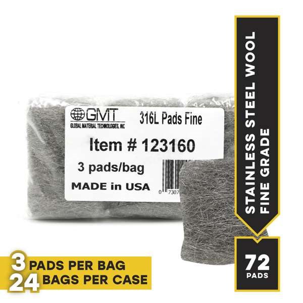 Fine #316L Stainless Steel Wool Hand Pads, 72 pads/case