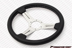 Nardi Classic 340mm Black Leather / White Spokes / Grey Stitching