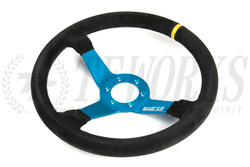 Sparco Street L550 Steering Wheel - 350mm Dia. - Blue/Suede or Silver/Leather