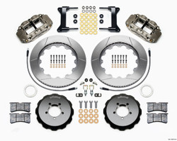 "Wilwood Forged Narrow Superlite 6R Big Brake Front Brake Kit (Hat) - 6 Piston - 18"" Min Wheel Dia - Nickel Plate Caliper - Slotted Rotor - Subaru Impreza WRX 2002-12"