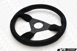 Personal Grinta Steering Wheel 330mm Black Suede with Red Stitching