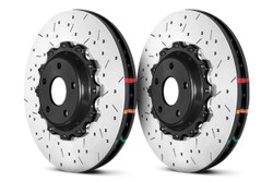 DBA Front Drilled & Slotted 5000 Series 2 Piece Rotor Assembled w/ Black Hat - 09+ Nissan GTR R-35