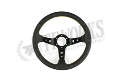 """Vertex """"King"""" 330mm Steering Wheel Black Leather"""