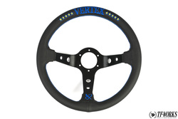 Vertex 10 Star 330mm Steering Wheel Black Leather w/ Blue Stitch
