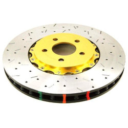 DBA 5000 Drilled & Slotted Front Brake Rotors with Gold Hat - 03-06 Mitsubishi Evo 8/9