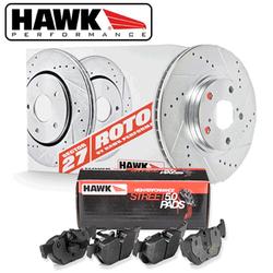 Hawk Front Brake Rotor with HPS 5.0 Pad Kit - 86-91 Mazda RX-7