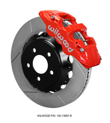 Wilwood 6-Piston AERO6 Big Brake Kit w/Slotted Rotors - 2015 Mustang GT Front (Red Calipers)