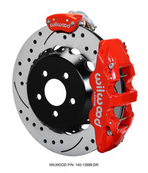 Wilwood AERO4-MC4 Big Brake Kit with Parking Brake - 2015 Mustang GT (Red Calipers)