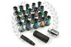 KICS Project R40 Iconix Lug Nuts - NeoChrome & Black - Plastic Cap