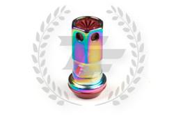 KICS Project R40 Iconix Lug Nuts - NeoChrome & Red - Plastic Cap