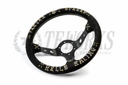 """Vertex """"Hells Racing"""" Steering Wheel - Gold & Silver on Black Suede"""