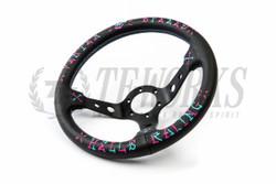 """Vertex """"Hell's Racing"""" Steering Wheel - Blue and Pink"""