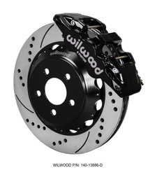"Wilwood Black Drilled and Slotted AERO6 14"" Rear Big Brake Kit - 15-17 Ford Mustang GT"