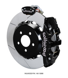 "Wilwood Black Slotted AERO4-MC4 14"" Rear Big Brake Kit - 15-17 Ford Mustang GT"