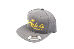 "TF-Works ""Splash"" Snapback Hat - Dark Heather Grey with Yellow Logo"