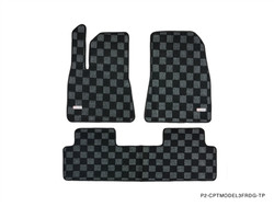 P2M TESLA MODEL 3 FRONT+REAR CHECKERED FLOOR MAT : DARK GREY