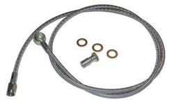 "Low Profile Banjo -3AN Turbo Oil Feed Stainless Steel Line Kit (48"") with Restrictor"