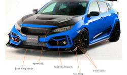 J's Racing Honda Civic Type - R Front Sport Grill Carbon