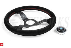 Nardi 330mm Deep Corn Steering Wheel - Suede / Black Spoke / Red Stitch