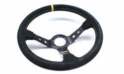 OMP Corsica 330mm Steering Wheel - Black Suede with Black Spokes