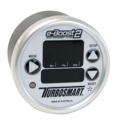 Turbosmart e-Boost2 Electronic Boost Controller, 60mm White Face, Silver Bezel
