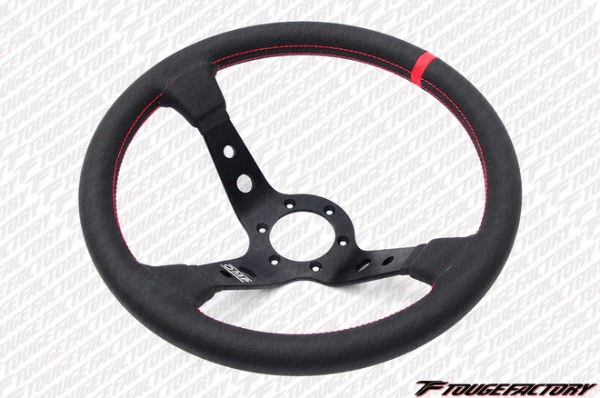 OMP Corsica 350mm Steering Wheel: Black Leather + Deep Black Spoke with Red Stitching