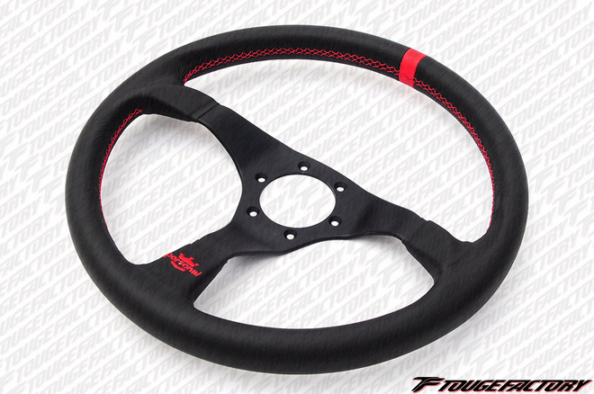 Personal Trophy 350mm Smooth Leather with Red Stitch Steering Wheel
