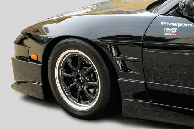 Charge Speed Flip Light 20mm Wide Body Front Fenders: FRP - Nissan 240SX S13