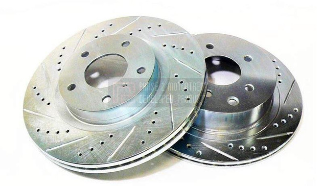 P2M Drilled + Slotted Front Rotors - Nissan 350Z