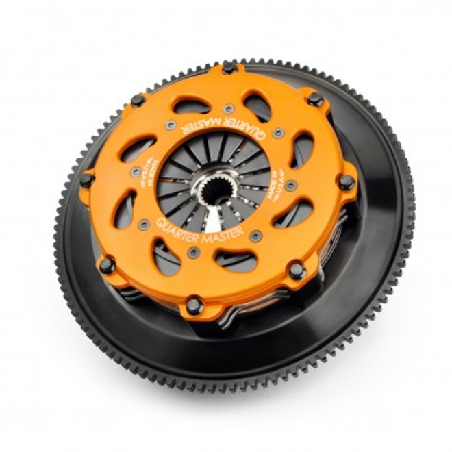 "Quarter Master 7.25"" 2-Disc Clutch & Flywheel (w/ Release Bearing) For 5 Speed, 8-Leg Cover, Rally - Mitsubishi EVO 8 & 9"
