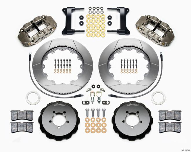 "Wilwood Forged Narrow Superlite 6R Big Brake Front Brake Kit (Hat) - 6 Piston - 18"" Min Wheel Dia - Nickel Plate Caliper - Slotted Rotor - Subaru Impreza WRX 2002-12"