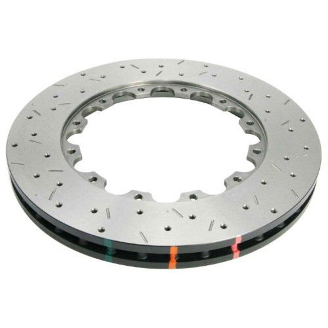 DBA T3 5000 Series Drilled & Slotted Replacement Disc Front Brake Rotors - 03-06 Mitsubishi Evolution 8/9
