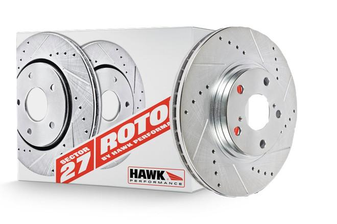 Hawk Performance Front Brake Rotor with HPS 5.0 Pad Kit - 08-13 Mitsubishi Evolution X