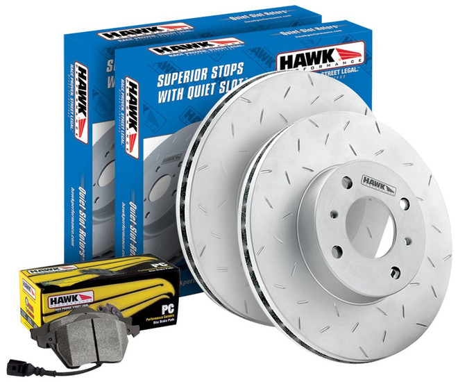 Hawk Performance Ceramic Front Brake Kit - 08-14 Mitsubishi Evolution X