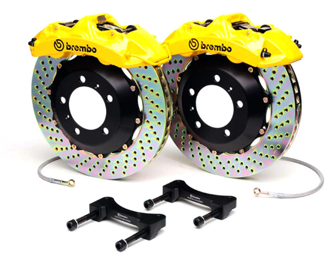 Brembo GT Yellow Drilled Rear Big Brake Kit 345x28mm - 08-15 Mitsubishi Evolution X