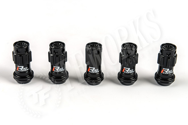 KICS Project R40 Iconix Lug Nuts - Black & Black - Plastic Cap