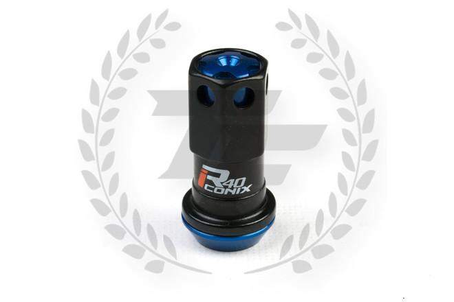 KICS Project R40 Iconix Lug Nuts - Black & Blue- Aluminum Cap