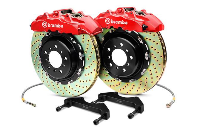 Brembo GT Red Front Drilled Brake Kit 355x32mm - 07-08 Infiniti G35 / 08-13 G37, 09-16 Nissan 370Z
