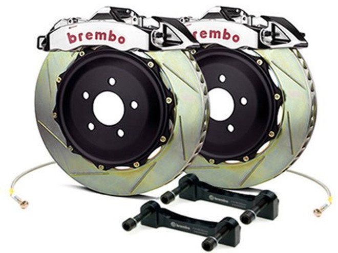Brembo GT-R Polished Rear Slotted Brake Kit 345x28mm - 07-08 Infiniti G35 / 08-13 G37, 09-16 Nissan 370Z