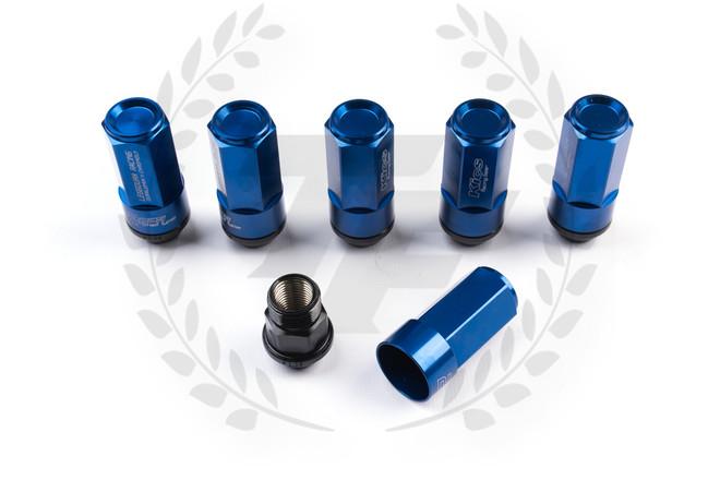KICS LEGGDURA RACING Shell Type Lug Nuts 20pcs - Blue 53mm
