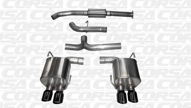 "Corsa Sport Cat-Back Exhaust w/ Single 3.5"" Black Tips - 2015 Subaru Impreza WRX"