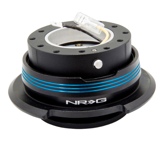 NRG Quick Release Kit Gen 2.9 Dual Strip Edition - Black Body / Black Ring w/ Blue Horizontal Stripes