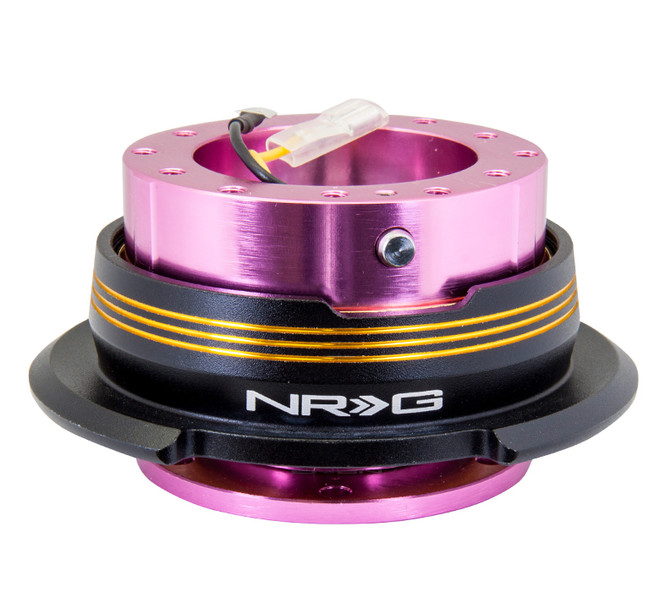NRG Quick Release Kit Gen 2.9 Dual Strip Edition - Pink Body / Black Ring w/ Chrome Gold  Horizontal Stripes