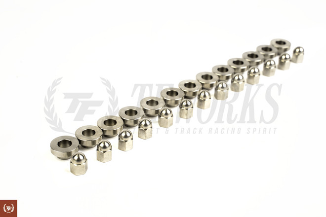 TF SR20DET Raw Titanium Valve Cover Nuts & Washers Set - OEM Style S13