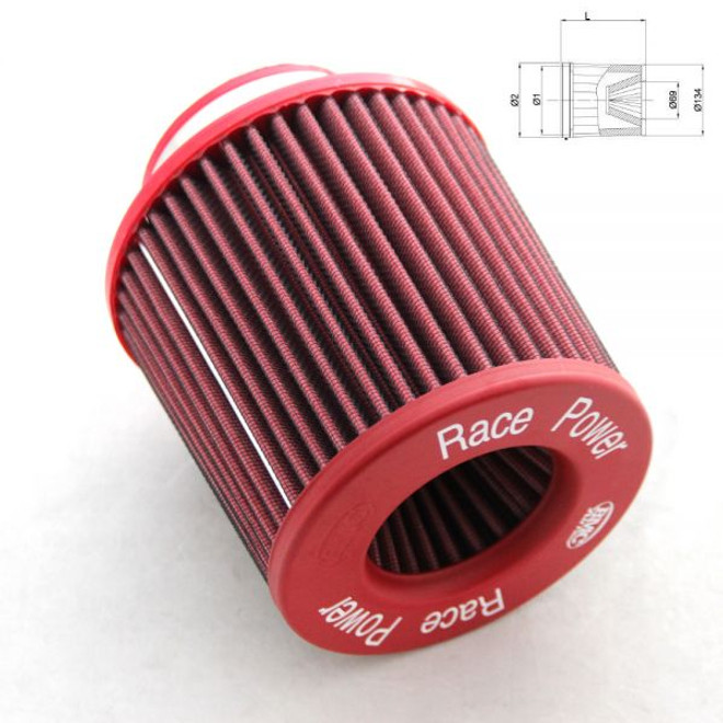 "BMC Twin Air Conical Filter with Metal Top:  5.9"" inlet"