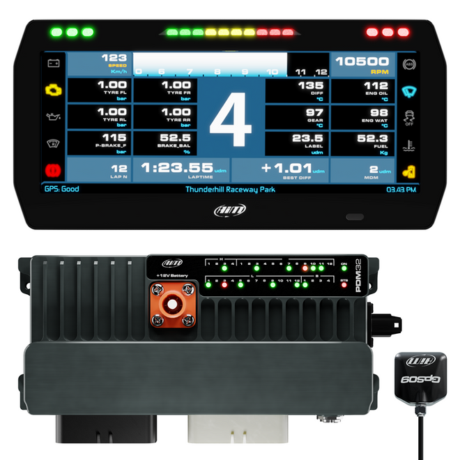 """AiM Sports PDM32 with 10"""" Road Icons Display GPS Logging Kit"""